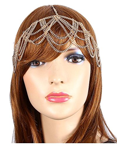 Price comparison product image Head Jewelry ~Goldtone Bohemian Draped Round Head Chain Hair Band (IHC1033-GLD)