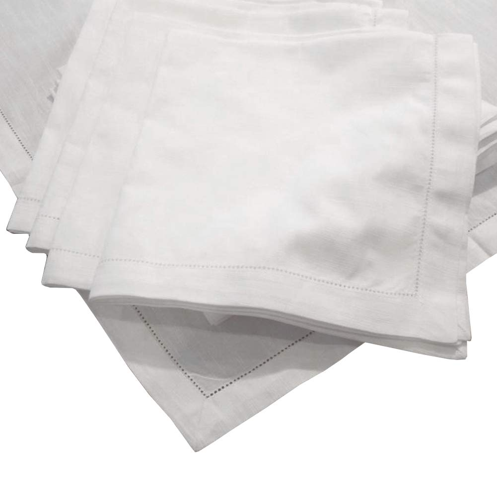 Hemstitch Dinner Napkins Set of 12 - White - One Dozen - 100% Egyptian Cotton - Elegant Cloth - Super Value Bulk 12 Pack