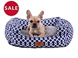 PLS Birdsong Trellis Bolster Small Dog Bed, Pet Bed, Cat Bed, Blue & Gray, Small, Removable Cover, Completely Washable, Dog beds for Small Dogs For Sale