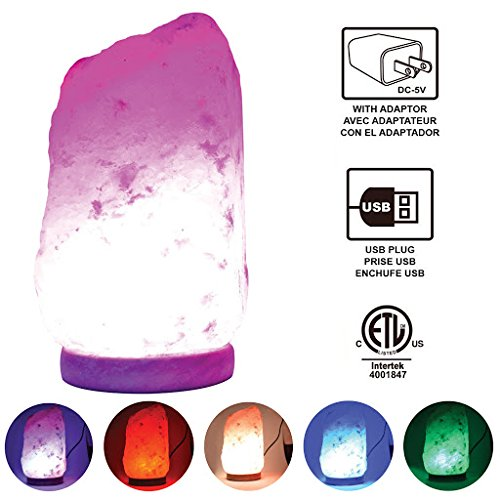 Himalayan Glow 900AC Multi-color USB Salt lamp, ETL...