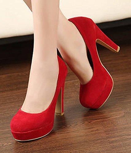 Easemax Femmes Élégant En Daim Solide Bas Haut Glisser Sur La Plate-forme Chunky Talons Hauts Pompes Chaussures Rouge