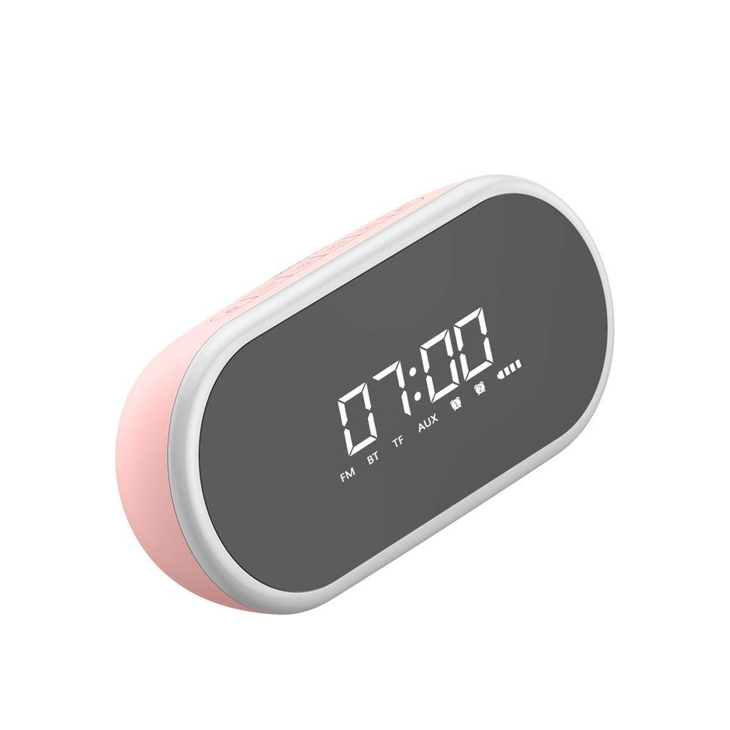 JinJin Alarm Clock Radio Bluetooth Speaker with Digital FM Stereo, Dimmable LED Display Bluetooth Speaker Alarm Clock Multi-function Bluetooth Speaker Desktop Bedside Bass Stereo FM/TF (Pink)