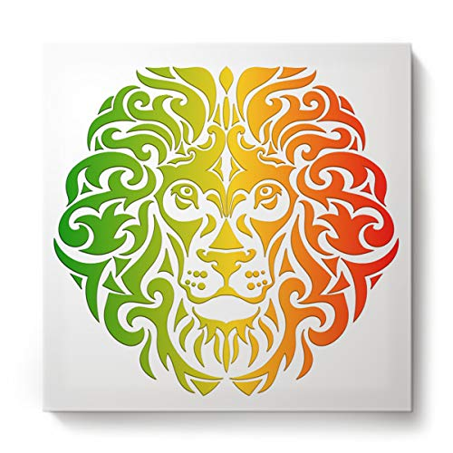Canvas Print Wall Art Paintings Abstract Red and Green Lion Face Pattern Artwork Home Livingroom Bedroom Children's Room Office Wall Decoration with Frame Ready to Hang- 20