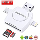 Micro SD Card Reader 4-in-1,Marceloant TF Memory Card Camera Reader Adapter for iPhone/iPad/Android/Mac/PC/MacBook pro. With Lightning/Micro USB/Type C/USB 3.0 Connector (White)