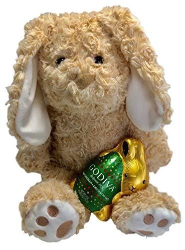 13 Inch Plush Easter Bunny Rabbit With Godiva Milk Chocolate Candy Bunny Gift Bundle (Tan)