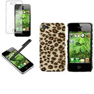 Bloutina CommonByte Brown Leopard Rear Hard Case Skin Cover+Stylus+SPT For iPhone 4 4G 4S 16 32 64GB
