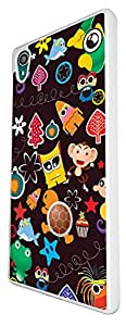 1125 - Cute Cartoon Mutli Art Animal Fish Monley Frog Funny Faces Design For Sony Xperia Z1 Fashion Trend CASE Back COVER Plastic&Thin Metal - White