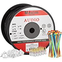 Maximm Outdoor Speaker Wire - 500 Feet - 14AWG CL3 Rated 2-Conductor Wire - Black , Pure Copper - Banana plugs, Cable clips and ties Included