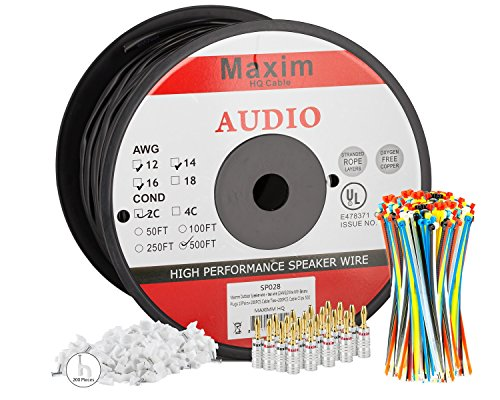 51Oh PtAg4L - Maximm Outdoor Speaker Wire - 500 Feet - 12AWG CL3 Rated 2-Conductor Wire - Black , Pure Copper - Banana plugs, Cable clips and ties Included
