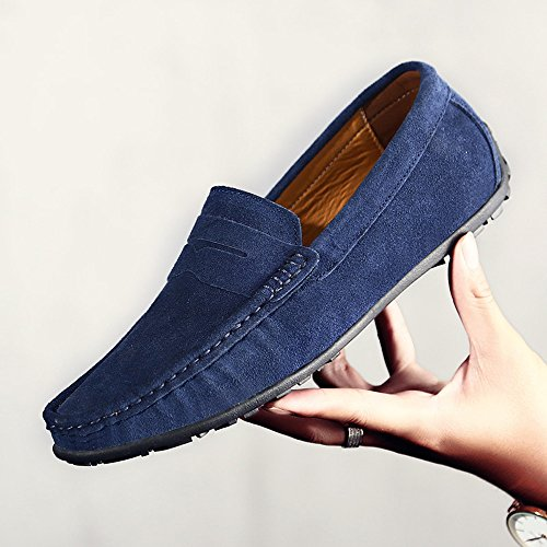 YZHYXS Dk Dress Slip Moccasins Penny Shoes Suede Driver Men's On Loafers Leather Blue Driving rCqg1Sr