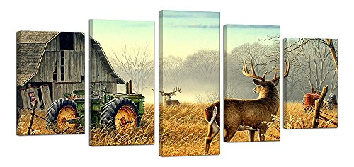 Ardemy Canvas Wall Art Rustic Country Cottage Reeindeer Animal Pictures Painting-5 Pieces/Set Vintage Designs Bedroom Living Room Kitchen Vintage Farmhouse Wall Decor Interior Decoration