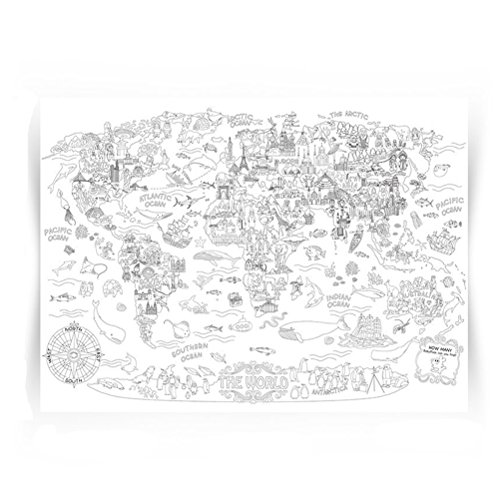 Giant Coloring Poster Wall Size Coloring Book Wall Decal Huge Coloring Page Oversize The World Theme Poster Doodle Art for Kids Children Adults Family Classroom, 45