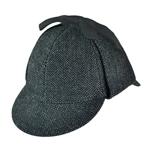 [Jaxon Hats Sherlock Holmes Herringbone Hat (Medium, Grey)] (Lady Sherlock Holmes Costume)