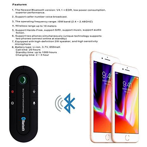 Bluetooth Visor Speakerphone Bluetooth Car Speaker Hands free Kit for Smart Phone, iPhone and iPad (Black) by BTBSZ (Image #1)