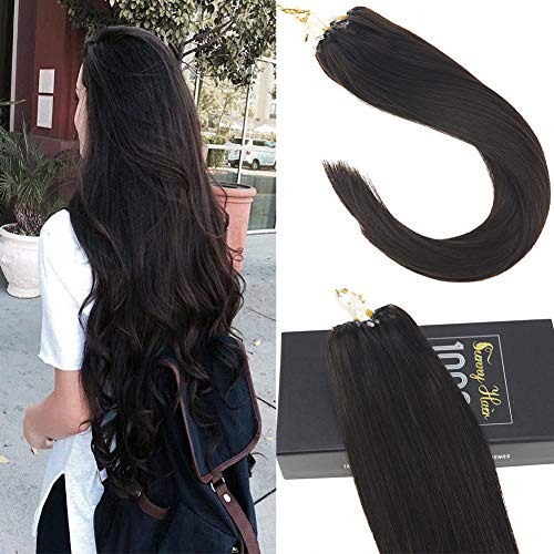Sunny Micro Link Hair Extensions Remy Human Hair 50Strands Full Head Darkest Brown (Col #2) Ring Loop Hair Extensions 14 Inches 50gram (Extensions Hair Micro Human)