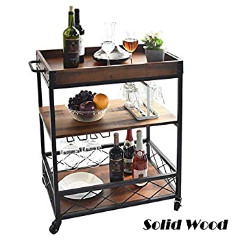 Image of Home and Kitchen charaHOME Solid Wood Kitchen Serving Carts Rolling Bar Cart with 3 Tier Storage Shelves Kitchen Island Cart with Wine Glass Holder,Handle Racks,Lockable Caster Liquor Cart Removable Top Box Container