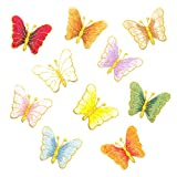 Soleebee 10 pcs Mixed Patches Embroidered Iron-on or Sew-on Patch Accessories Applique For Jackets Jeans (Colorful Butterfly)