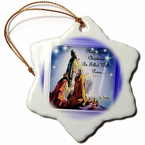 OneMtoss SmudgeArt All Things Christmas Three Wiseman Christmas Peace Snowflake Porcelain ()