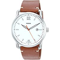 Fossil Men's The Commuter FS5395 Three-Hand Date Leather Watch (Light Brown)