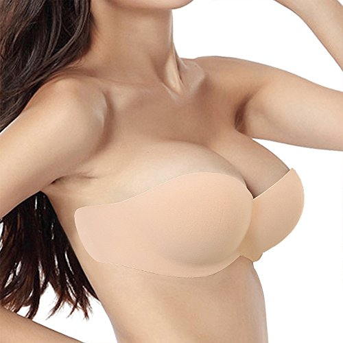 YICHAOYILIANG Backless Plunge Bra U Shape Bra Strapless Backless Push up Self Adhesive Bras (B, 04 Beige) (Plunge Air Push Up Bra)