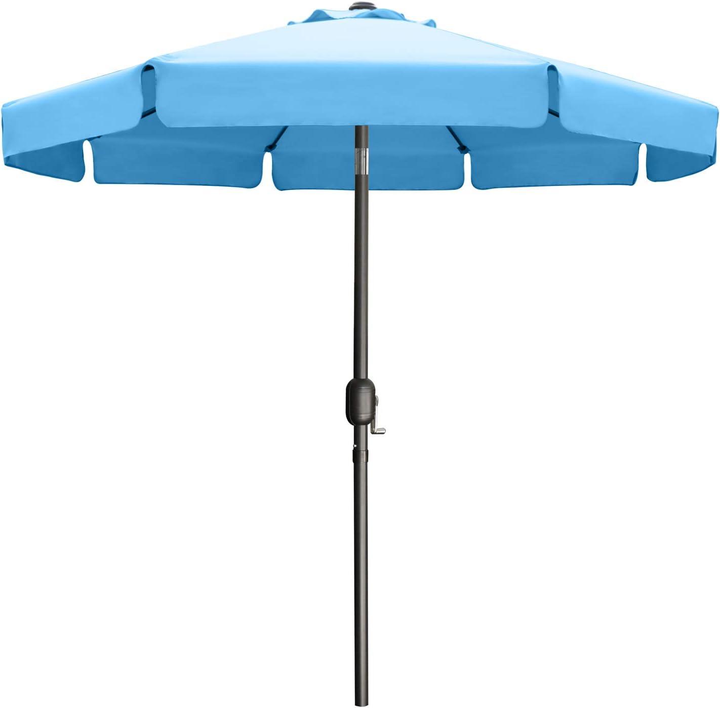 9FT Outdoor Garden Table Umbrella Patio Umbrella Market Umbrella with Push Button Tilt for Pool Deck,Backyard and Garden. 13+Colors,8 Ribs Wave Edge,(Turquoise)