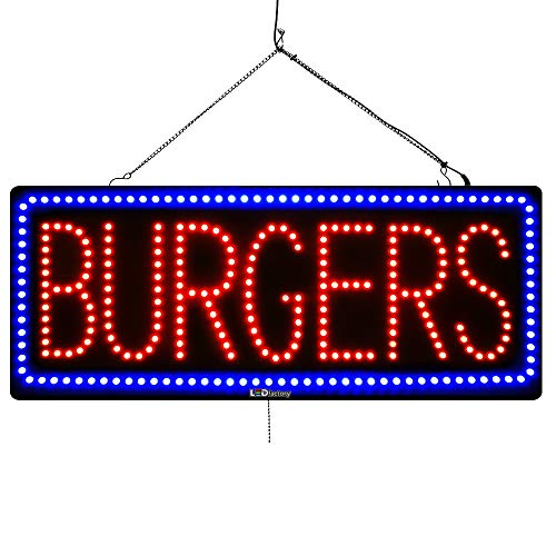 (Large LED Window Sign - Burger - Extra Bright, Can be seen Through Tinted Windows - 13