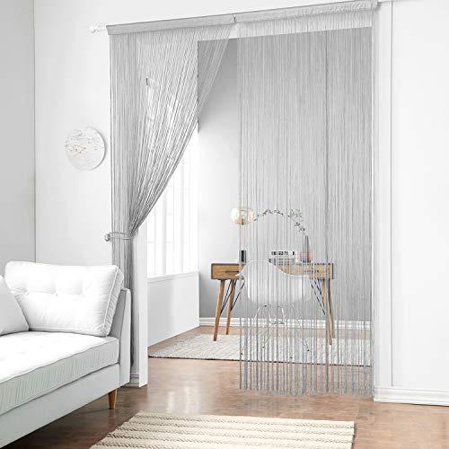 Panel Fringe (Taiyuhomes Dense String Curtain Fringe String Door Curtain Panels Room Divider Fly Screen for Living Room (39x110,Grey)