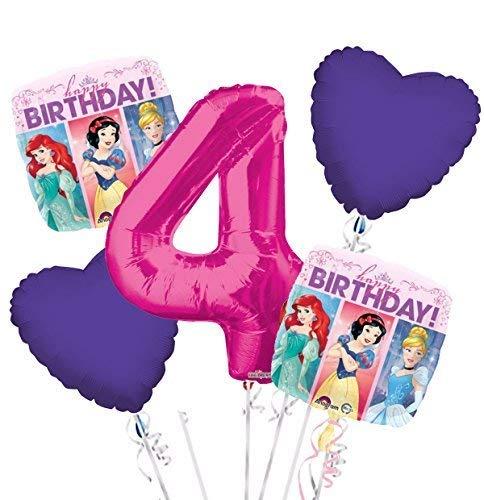Princess Balloon Bouquet 4th Birthday 5 pcs - Party Supplies