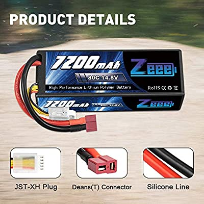 Zeee 14.8V 80C 7200mAh 4S Lipo Battery with Deans T and XT60 Connector Hard Case RC Battery for Car Truck Tank RC Buggy Truggy Racing Hobby: Home Audio & Theater