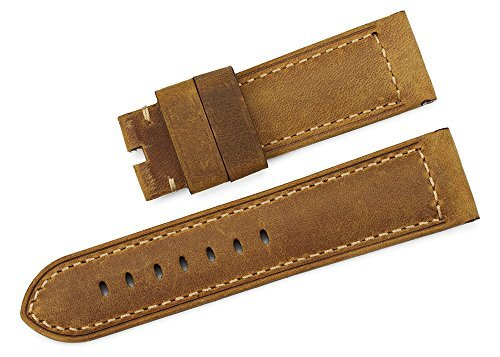 iStrap 24mm Replacement Watch Band Genuine Calf Leather Ammo Strap fit Panerai Luminor 44