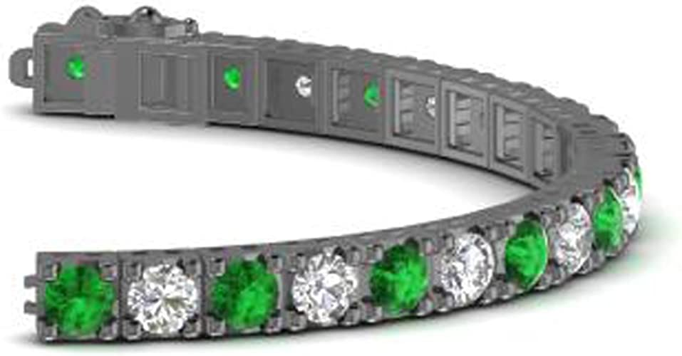 14k White Gold Finish Diamond Tennis Bracelet 3 Carat Green Oval Cut