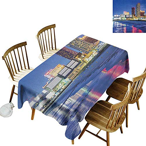 Rectangular tablecloths in a variety of colors and sizes Can be used for parties Resort Casinos on Shore at Night Atlantic City New Jersey United States W60 x L84 Inch Violet Blue Pink Yellow -