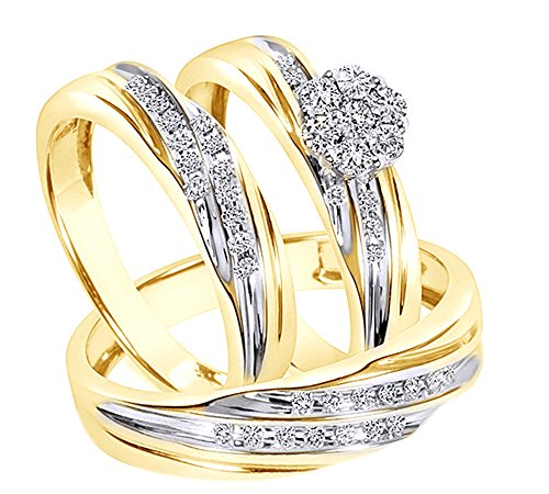 Round Cut White Cubic Zirconia Engagement & Wedding Trio Band Ring Set In 10k Solid Gold (0.38 Cttw)