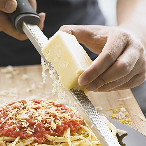 Orblue Zester Stainless Steel Grater, Cheese, Lemon, Ginger & Potato Zester with Plastic Cover, Long Ergonomic Handle with Rubber Base (Black) by Orblue (Image #4)