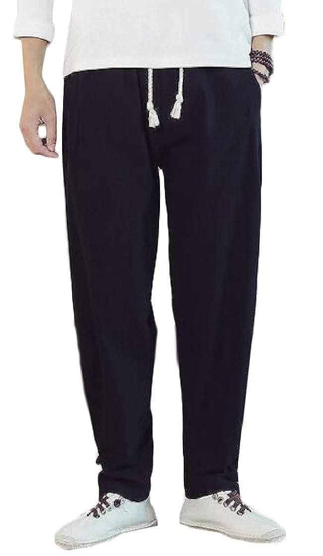 Joe Wenko Men Elastic Waist Trousers Harem Sports Cotton Casual Pant