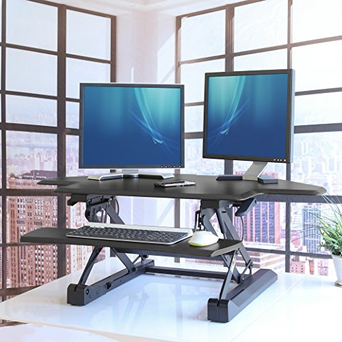 Seville Classics OFF65869 Airlift 43'' Gas-Spring Adjustable Cubicle Corner Standing Desk Ergonomic Workstation with Keyboard Tray (Max Height 19.7''), Black by Seville Classics (Image #5)