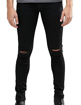 4bbd3141473 Men s Skinny Fit Knees Slit Ripped Jeans Stretch Slim Denim Pants Black at  Amazon Men s Clothing store