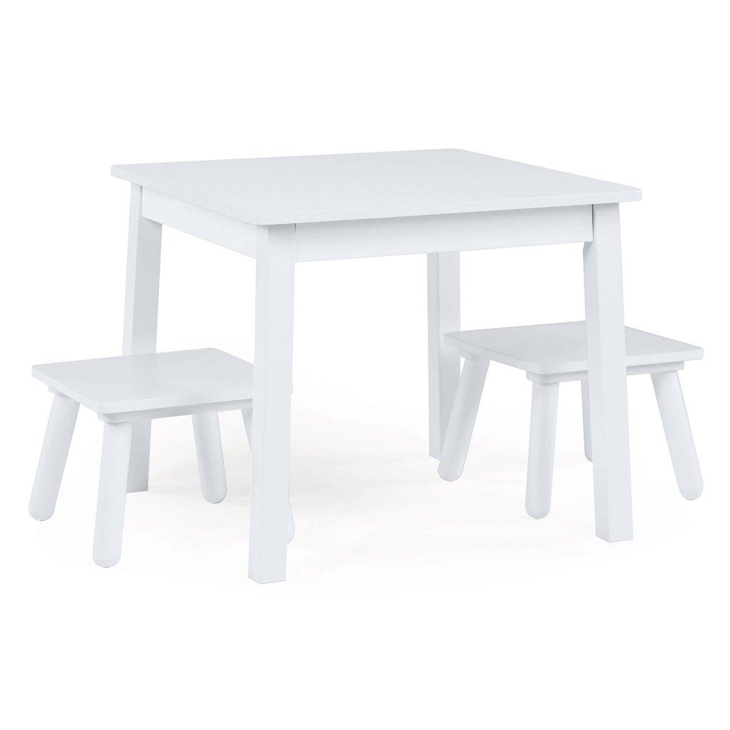 Tot Tutors TC734 Kids Wood Table and 2 Stools Set, White
