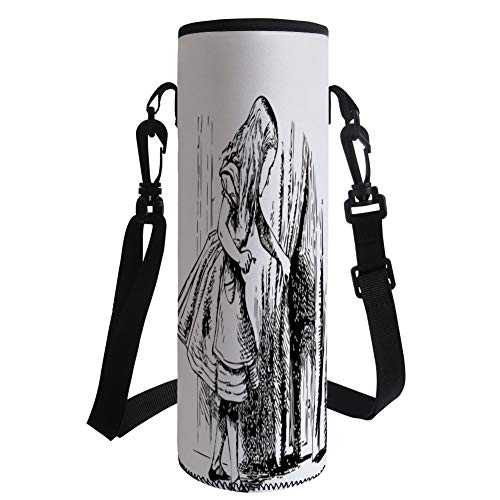 iPrint Water Bottle Sleeve Neoprene Bottle Cover,Alice in Wonderland,Black and White Alice Looking Through Curtains Hidden Door Adventure Decorative,Black White,Fit for Most of Water Bottles by iPrint