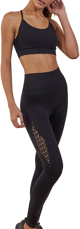 WODOWEI Women 2 Piece Outfits Leggings+Sports Bra Yoga Set Long Pants Tracksuits