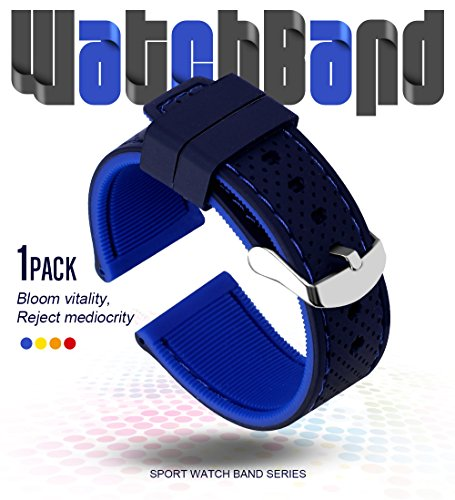 FORID Silicone Watch Strap,Sports Rubber Watch Band Quick Release Band for Men and Women Bicolor Waterproof Choose Color&Width(20mm, 22mm,24mm or 26mm) (Black-Blue, 22mm)