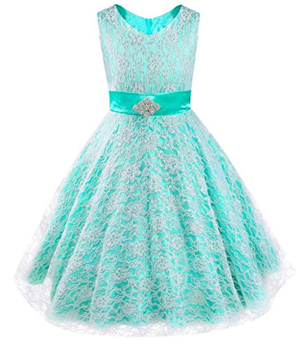 iEFiEL Kids Big Girls V-Neck Lace Flower Dress Graduation Pageant Ball Gown Turquoise -