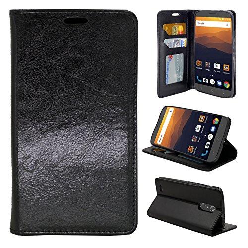 ZTE Max XL N9560 Case, ZTE Blade Max 3 Case, ZTE Zmax Pro 2 Case, Customerfirst PU Leather Flip Design Wallet Case for ZTE Max XL N9560 (Black)