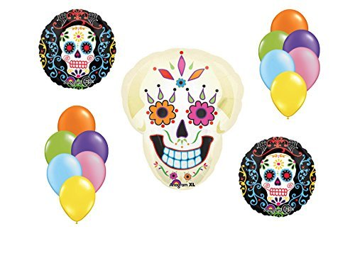 Sugar Skull Mylar Latex Balloon Bouquet Deluxe]()