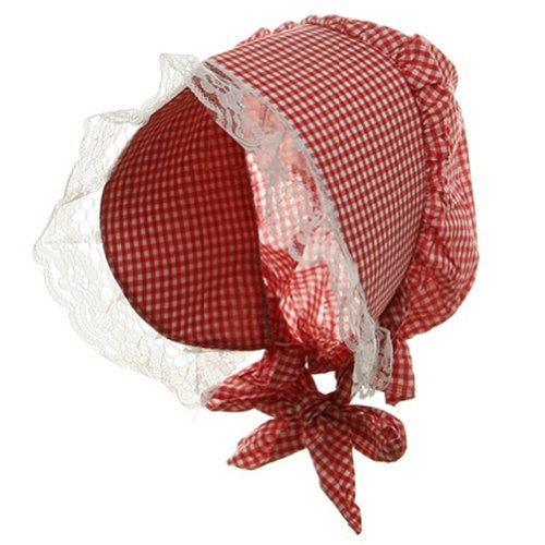 [Red Gingham Plaid Pioneer Lace Trim Bonnet] (Quaker Costumes)