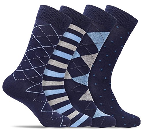 Mens 4 Pack of Cotton Blend Fun, Funky and Colorful Business Dress Socks (Shoe: 8-12 / Sock: 10-13, Navy/Light Blue C)