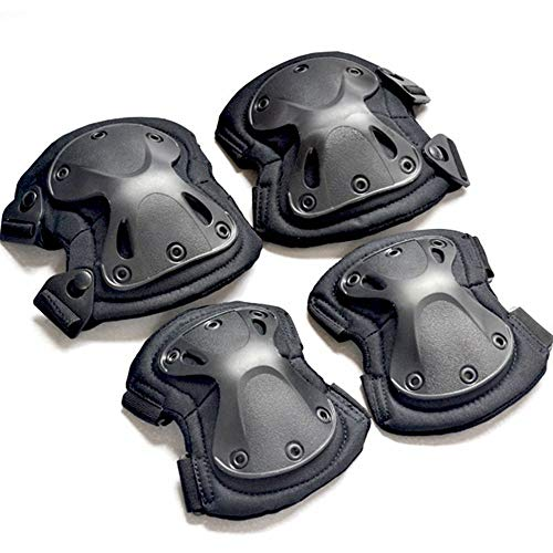 ruizhixuan Tactical Knee & Elbow Pads Protective Guard for CS Hunting Paintball Airsoft Outdoor Sports (Black) (Knee Swat Tactical Pads)