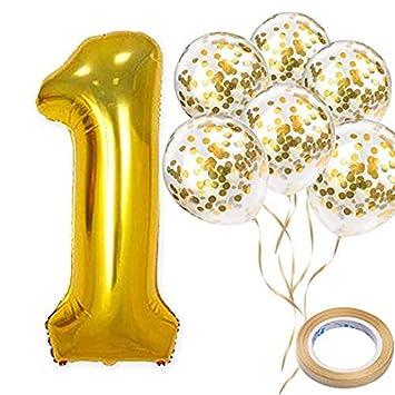 Amazon.com: Globos dorados número 1 de 40 pulgadas y globos ...