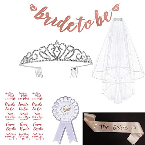 LABOTA Gold Pink Bachelorette Party Decorations Kit - Bridal Shower Supplies, Included The Bride Sash, Rhinestone Tiara Crown, Veil with Comb, Banner and Bride Tribe Flash Tattoos -