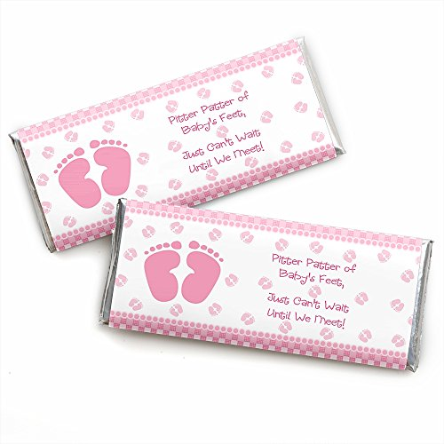 Bar Feet Candy (Baby Feet Pink - Candy Bar Wrappers Girl Baby Shower Favors - Set of 24)